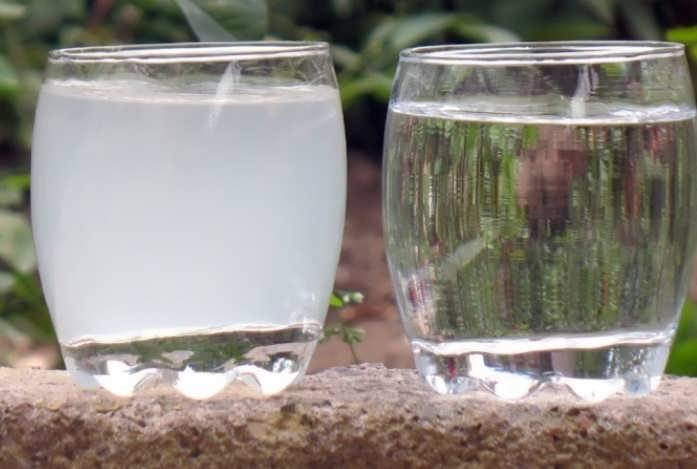Известковая и чистая вода